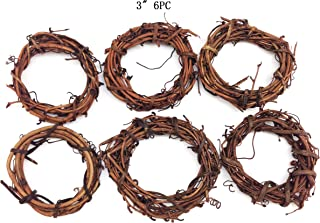 PEPPERLONELY 6 PC Natural Grapevine Wreath, 3 Inch