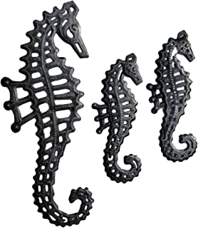 Nautical Home Decor, Set of 3, Sea Life Beach Themed Decorative Plaques, Recycled Wall Art, 13 in. x 5 in, 8 in. x 3 in. (Seahorse Decor)