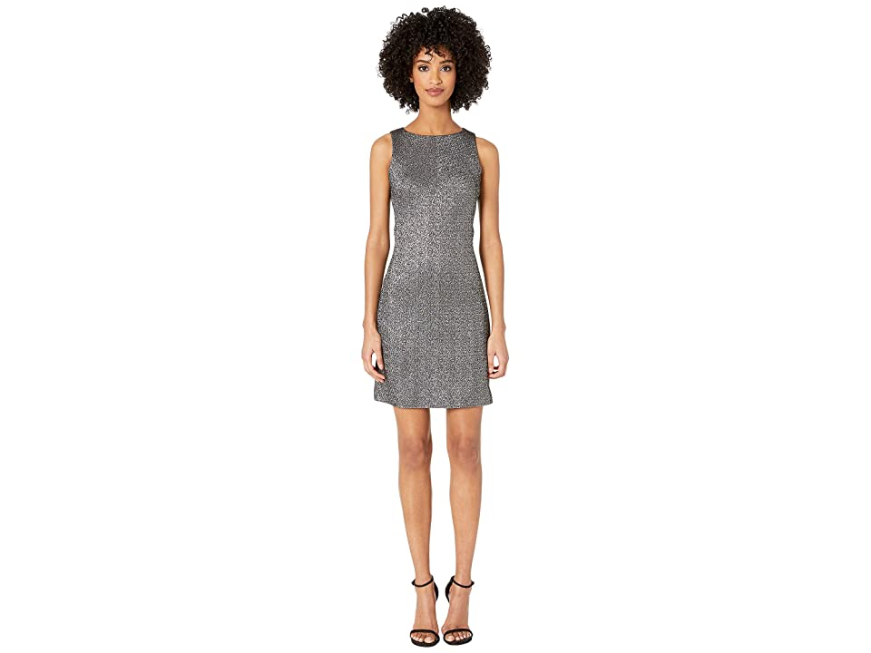 Versace Collection Woven Sheath Mini Dress in Stretch Silver (Black Multi) Women