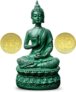 """Antique Buddha Statue for Home Decor,7"""" Thai Shakyamuni Sitting Statue Resin with Bronze Finish, Great Decoration for Med"""