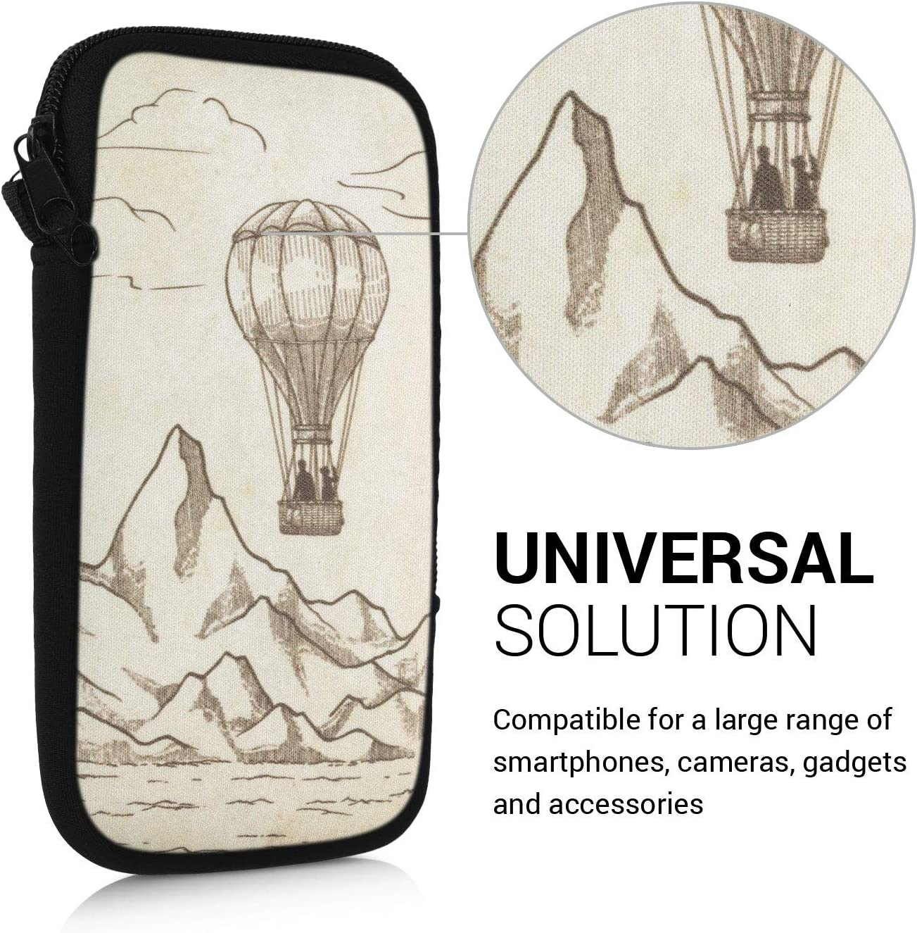 kwmobile Neoprene Sleeve for Smartphone Size L 6.5 Shock Absorbing Pouch Case Protective Phone Bag Hot Air Balloon Dark Brown//Beige