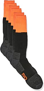 Rio Men's Reinforced Cushion Comfort Work Socks (3 Pack), Orange, 11+