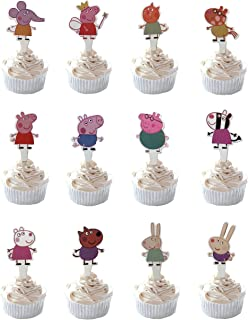 Party Hive 48pc Peppa Cartoon Pig Cupcake Toppers for Birthday Party Event Decor (Assortment 2)