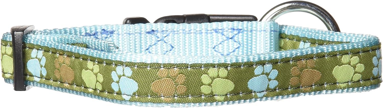 Hamilton 5 8Inchx12Inch18Inch Adjustable Dog Collar with Aqua Paws Patterned Ribbon Overlay, Small