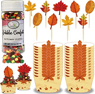 Thanksgiving/Fall Cupcake Supplies for 75 - Baking Cups/Wrappers, Autumn Leaves Edible Decorating Sprinkles Mix, Wooden Pi...