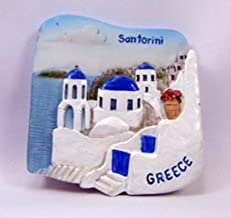 Souvenir Collectibles Santorini Greece Hand Sculpting and Hand Painting Fridge Magnet Magnetic Cute Charm Gift 3d