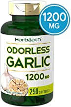 Horbaach Odorless Garlic 1200 mg (250 Softgels) | Ultra Potent and Pure Garlic Extract | Non-GMO, Gluten Free Supplement | Easy to Swallow Softgel Capsule Pills