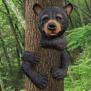 Garden Animal Tree Decor Hugger - Outdoor Garden Tree Scupture , Polyresin (Brown Bear Tree Hugger)