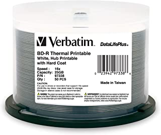 Verbatim BD-R 25GB 16X DataLifePlus White Thermal Printable, Hub Printable - 50pk Spindle - 97338