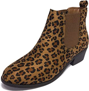 Westwood Footwear Corp. Women's Tildon-03 Low Heel Slip-on Solid Ankle Boot (Leopard, 7.5 M US)