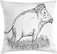 NBTJZT Razorback Throw Pillow Cushion Cover, Animal Print Themed Outline Monochrome Sketch of Wild Boar Pig Image,Pillowcase 18X18 Inch, Charcoal Grey and White
