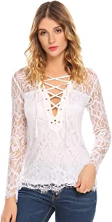 Zeagoo Women's Lace Up Long Sleeve Floral Lace Blouse Top