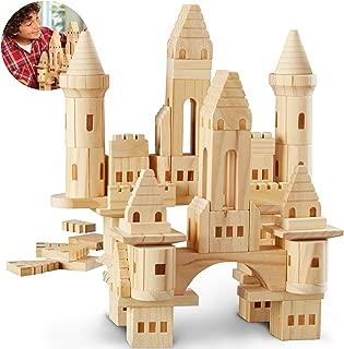 DISCOVERY KIDS 75-Piece Premium Piece Wooden Castle Building Blocks Set; Spark Your Child's Imagination & Develop Essential Skills, Educational, Durable & Safe Construction Blocks, Great Gift
