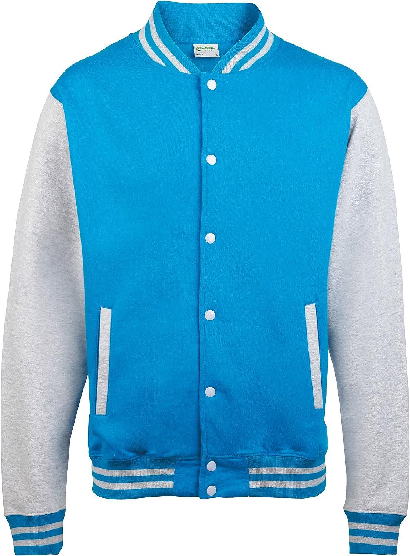 Awdis Unisex Varsity Jacket (S) (Sapphire Blue/ Heather Grey)