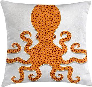 Funda de cojín para cojín, patrón de pulpo irregular en colores vivos Estampado con tema de guardería infantil de monstruo marino, funda de almohada decorativa cuadrada, naranja, (18