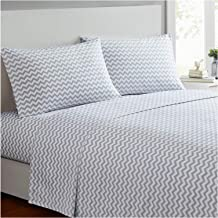 Mellanni Bed Sheet Set - Brushed Microfiber 1800 Bedding - Wrinkle, Fade, Stain Resistant - 3 Piece (Twin, Chevron Gray)