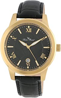 Men's LP-10046-YG-01 Black Textured Dial Black Leather Watch