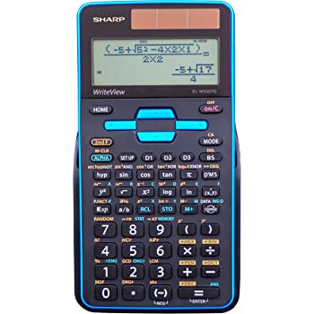 "Sharp Calculators EL-W535TGBBL 16-Digit Scientific Calculator with WriteView, 4 Line Display, Battery and Solar Hybrid Powered LCD Display, Black & Blue, Black, Blue, 6.4"" x 3.1"" x 0.6"" x 6.4"""