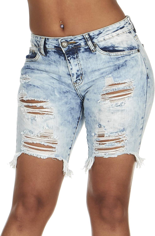 YDX Smart Jeans Summer Denim Bermuda Shorts Ripped Distressed Torn