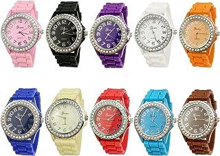 Geneva Women's 10 PCS Watches Crystal Wristwatch Set Silicone Jelly Band