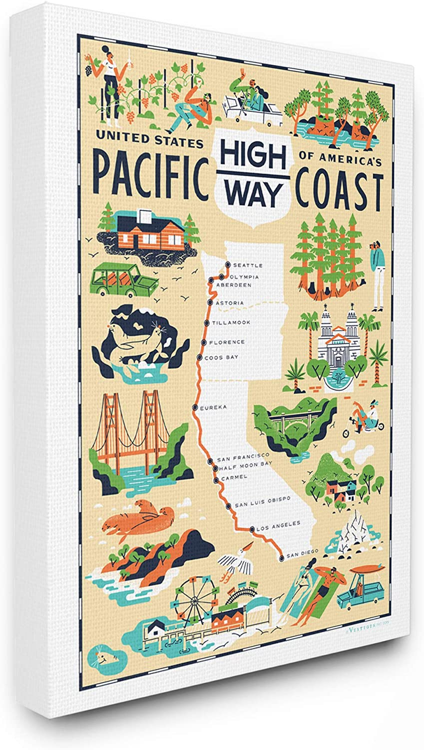 The Stupell Home Decor Us Pacific Coast Highway Pale Yellow Illustrated Scenic Map Poster Stretched Canvas Wall Art, 11x14, Multi-color