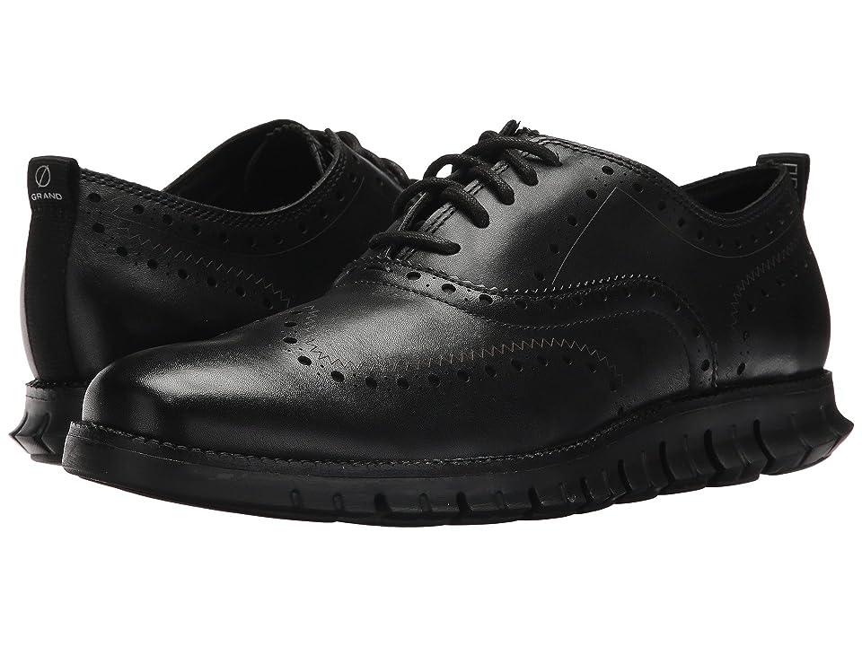 Cole Haan ZeroGrand Wingtip Oxford II (Black Leather/Black) Men