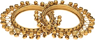 I Jewels 18k Gold Plated Intricately Designed Handcrafted Bangles/Kada Embellished with Ghungroo (ADB427FL) (Pack of 2)
