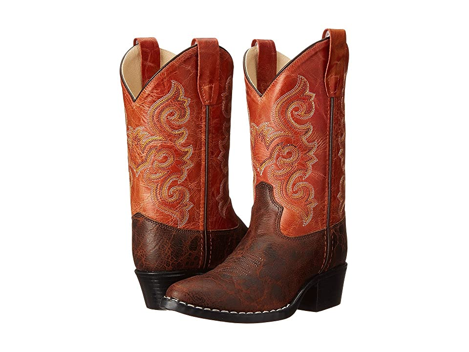 Old West Kids Boots Western Boots (Toddler/Little Kid) (Brown Truffle/Antique Waxy Red) Cowboy Boots