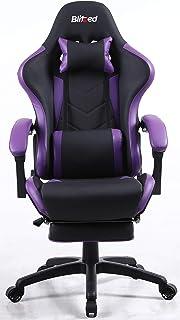 كرسي ألعاب من الجلد الصناعي بمسند ذراع ومسند قدم قابل للتعديل 6688 من بليتزد بتصميم مريح مع وسادة قطنية (GAIA_Purple)