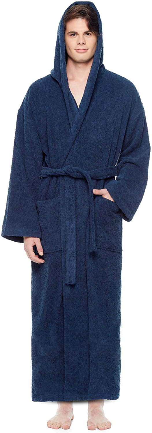Arus Men's Hooded Classic Bathrobe Turkish Cotton Robe with Full Length Options