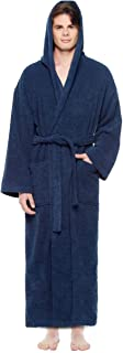 Men's Hooded Classic Bathrobe Turkish Cotton Robe with...