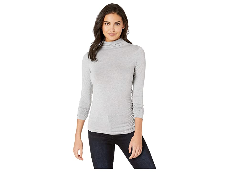 Michael Stars Jules Jersey Long Sleeve Mock Neck Side Ruched Tee (Heather Grey) Women's Long Sleeve Pullover