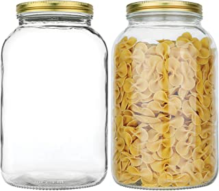 2 Pack - 1 Gallon Glass Mason Jar Wide Mouth with Airtight Metal Lid - Safe for Fermenting Kombucha Kefir - Pickling, Stor...