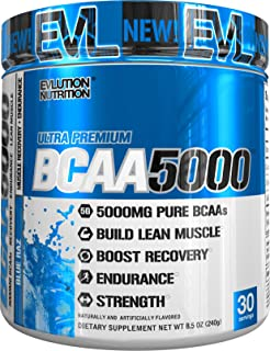 Evlution Nutrition BCAA5000 Powder 5 Grams of Branched Chain Amino Acids (BCAAs) Essential for Performance, Recovery, Endurance, Muscle Building, Keto Friendly, Zero Sugar, 30 Servings, Blue Raz