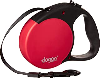 doggo Everyday Retractable Dog Leash, 16' Long Belt, Large for Dogs Up to 110 lbs, Red with Black Soft Grip Handle
