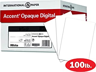 Accent Opaque, Smooth Cover White, 100lb, 19 x 13, 97 Bright, 600 Sheets / 4 Ream Case, Made in The USA