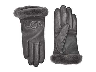 UGG Classic Leather Logo Tech Gloves (Charcoal) Extreme Cold Weather Gloves
