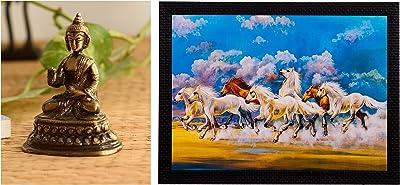 eCraftIndia Antique Finish Meditating Buddha Brass Showpiece (8 cm X 5 cm X 10, Brown) & 'Running Lucky Horses Matt Textured' Up Art Painting (Synthetic Wood, 36 cm X 2 cm X 28 cm, Fpgk1186_A) Combo