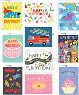 Tiny Expressions - 10 Kids' Birthday Cards with Inside Messages and Envelopes