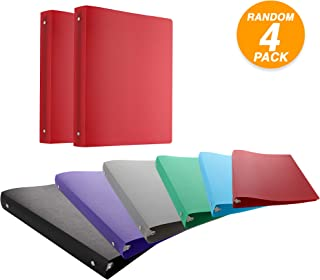 Emraw 1 Inch Matte Color Poly 3-Ring Binder with Pocket Storage Hanging File Folders Presentation View Durable Binders for School, Home or Office Clear Folders with Pockets (Pack of 4)
