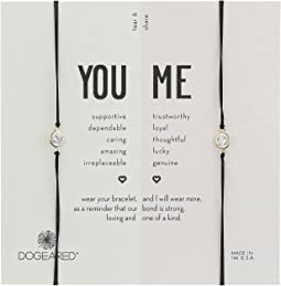 You + Me, Crystal On Black Cord Friendship Bracelets, Set of 2