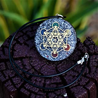 Orgone Pendant EMF Protection | Reiki Metatron's 7 Chakra Crystal | EMF Radiation Protection Orgonite Energy Pendant with Two Different Chains