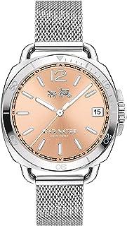 ساعة كوتش للنساء، مينا ساعة ذهبي وردي وسوار ستانلس ستيل - 14502635