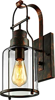 BAYCHEER Industrial Country Style 18'' H Single Light Wall Sconces Wall Lighting Wall Lamp Wall Fixture Loft Light with Cylinder Glass Shade use 1 E26 Light Bulb in Rust