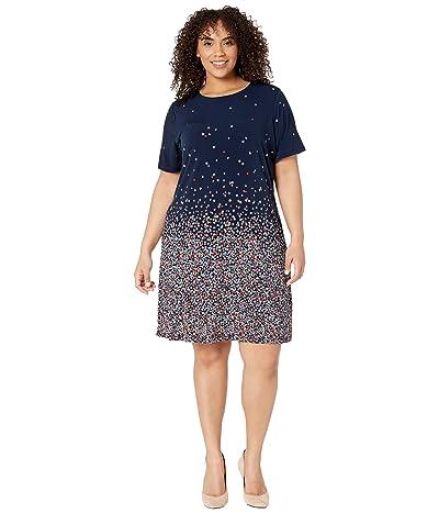 MICHAEL Michael Kors Plus Size Short Sleeve Ombre Bloom Dress (Coral Peach) Women