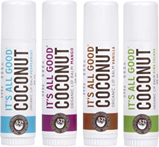 It's All Good Lip Balm, Organic Chapstick Made from Cold Pressed Coconut Oil for All Day Moisture and Comfort - 4 Pack Sampler (Mango, Peppermint, Vanilla, and Pina Colada)