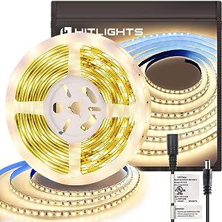 HitLights Warm White LED Light Strip, Premium High Density 3528 - 16.4 Feet, 600 LEDs, 3000K, 164 Lumens per Foot. UL-List...