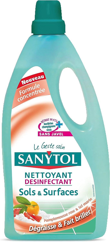 Sanytol detergente para pies los pisos y superficies, o Fruit y molinillo de sal marina, desinfectante, 1 L