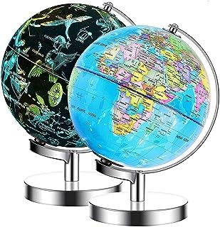 Illuminated World Globe - USB 2 in 1 LED Desktop World Globe, Interactive Earth Globe with World Map and Constellation Vie...