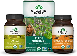 Organic India Immune Support Kit with Amla (90 Capsules), Turmeric Curcumin Formula (90 Capsules), Tulsi Original Herbal T...